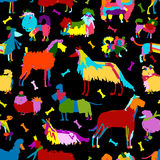 Funny dogs collection, seamless pattern for your design Royalty Free Stock Photo