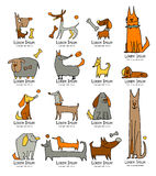 Funny dogs collection, sketch for your design. Vector illustration Stock Photo