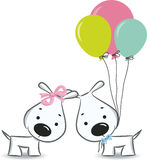 Funny dogs' couple with balloons Royalty Free Stock Photos