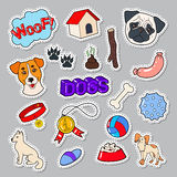 Funny Dogs Doodle with Puppy and Toys. Pet Stickers, Patches, Badges Royalty Free Stock Image