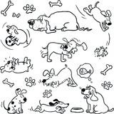 Funny dogs. Drawings set, lineart vector illustration