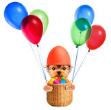Funny dogs in easter basket with balloons. Stock Photography