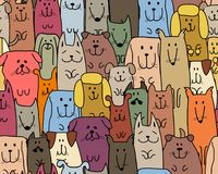 Funny dogs family, seamless pattern for your design Stock Images