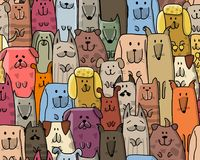 Funny dogs family, seamless pattern for your design Royalty Free Stock Images