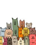 Funny dogs family, sketch for your design Royalty Free Stock Image
