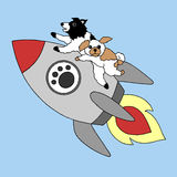 Funny dogs flying on rocket business concept vector illustration hand drawn. Funny dogs flying on rocket business concept vector illustration design hand drawn Royalty Free Stock Image