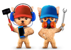 Funny dogs with hammer and wrench Royalty Free Stock Image