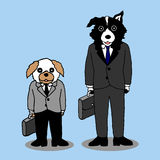 Funny dogs holding briefcase, businessman standing, vector hand drawn. Funny dogs holding briefcase, businessman standing, vector illustration design hand drawn vector illustration