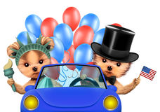 Funny dogs holding USA flag. Concept of 4th of July. Funny dogs holding USA flags, sitting on car and surrounded by balloons. Concept of 4th of July and Royalty Free Stock Images
