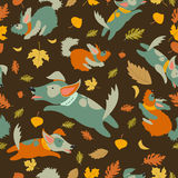 Funny dogs playing with autumn leaves Royalty Free Stock Photo