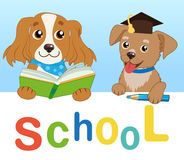 Funny Dogs Read Book On A White Background. Cartoon Vector Illustrations. Back To School. Colored Letters Vector. Cartoon Pets Education Mascot Stock Photography