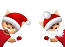 Funny Dogs Santa wave their hands. Merry Christmas. Funny Dogs Santa Claus wave their hands. New Year and Christmas concept. Realistic 3D illustration stock illustration