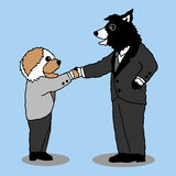 Funny dogs shaking hands together, cartoon vector design hand drawn Royalty Free Stock Photo