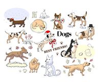 Funny Dogs Sketches. Hand drawn animals vector illustration Royalty Free Stock Photography