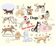 Funny Dogs Sketches Set. Hand drawn animals vector illustration Royalty Free Stock Image