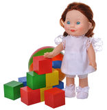 Funny doll with cubes and ball Royalty Free Stock Images