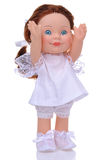 Funny doll in white dress Royalty Free Stock Photography