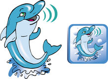 Funny dolphin. Color  draw Stock Photography