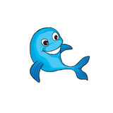 Funny dolphin cartoon. Marine animal sign. Funny dolphin cartoon. Flipper icon. Marine animal sign Royalty Free Stock Images