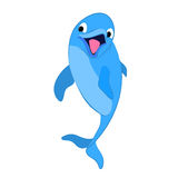 Funny dolphin. Funny smiling cartoon dolphin on a white background. Vector Stock Photo
