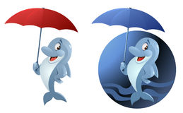 Funny dolphin with umbrella. On dark background and isolated on white. Cartoon styled vector illustration. Elements is grouped. No transparent objects Stock Photos