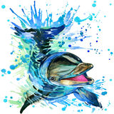 Funny dolphin with watercolor splash textured