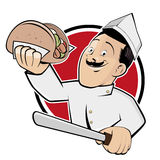 Funny doner cartoon in a badge Stock Image