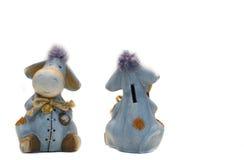 Funny donkey bank toys. Isolated on white Stock Photos