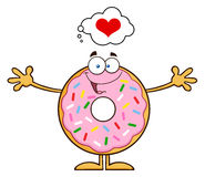 Funny Donut Cartoon Character With Sprinkles Thinking Of Love And Wanting A Hug. Illustration Isolated On White Stock Photography