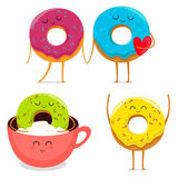 Funny donut characters set in leisure. Funny cartoon donut characters set in leisure. Vector illustration Royalty Free Stock Image