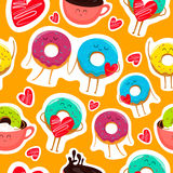 Funny donut characters stickers in leisure. Funny cartoon donut characters stickers in leisure. Cartoon face food emoji. Donut emoticon. Funny food stickers Stock Image