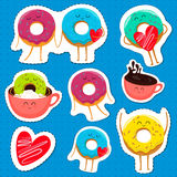 Funny donut characters stickers in leisure. Funny cartoon donut characters stickers in leisure. Cartoon face food emoji. Donut emoticon. Funny food stickers Royalty Free Stock Images