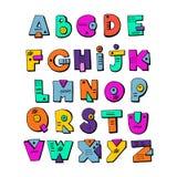 Funny doodle alphabet. Colorful creative design letters. ABC. Kids alphabet. Vector hand drawn cartoon letters Stock Image