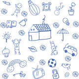 Funny doodle art for kids. With white backgrounds Stock Photos