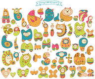 Funny doodle cartoon alphabet. Animal letters Royalty Free Stock Photo