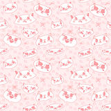 Funny doodle cartoon cats seamless vector pattern. Funny doodle cartoon cats pink seamless vector pattern Royalty Free Stock Photo