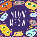Funny doodle cartoon cats vector background and card Royalty Free Stock Photos