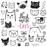 Funny doodle cat icons collection. Hand drawn pet, kid drawn des vector illustration