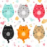 Doodle colored cats set royalty free illustration