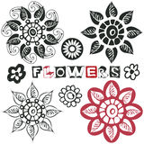 Funny doodle flowers Stock Photos