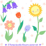 Funny doodle flowers vector set Royalty Free Stock Photography