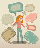 Funny doodle girl with speech bubbles Royalty Free Stock Photos
