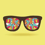 Funny doodle hipster glasses with pattern Stock Photo