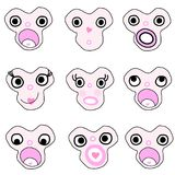 Funny and doodle   monster face  cartoon Royalty Free Stock Photography