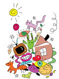 Funny doodle monsters. Image of a funny doodle monsters Royalty Free Stock Photography