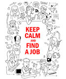 Funny Doodle People around Red Quote Text Work Hard, Play Hard Royalty Free Stock Images