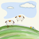 Funny doodle sheep  bounce on meadow Royalty Free Stock Photos