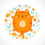 Funny doodle sleeping red cat stock illustration