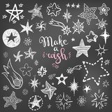 Funny doodle stars and comets icons collection. Hand kids drawn stock illustration
