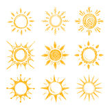 Funny doodle summer smile orange sun vector icons. Yellow hot sun, illustration of bright summer morning sun Stock Images